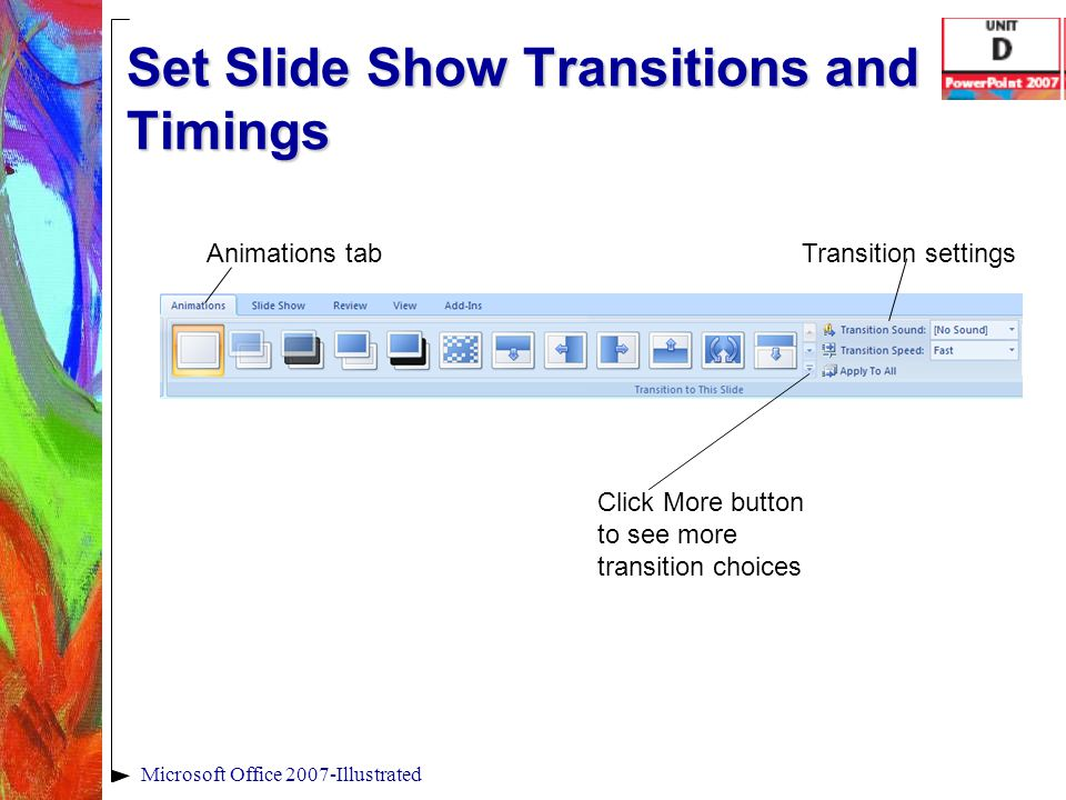 Set Slide Show Transitions and Timings Microsoft Office 2007-Illustrated Animations tab Click More button to see more transition choices Transition se