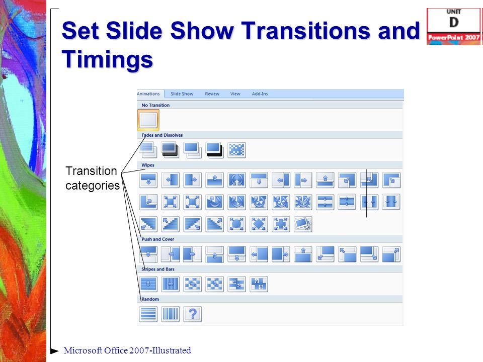 Set Slide Show Transitions and Timings Microsoft Office 2007-Illustrated Transition categories