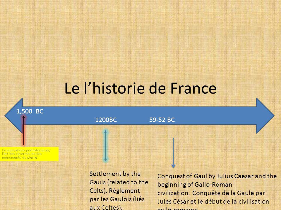 Le l'historie de France Le populations prehistoriques, l'art des cavernes, et des monuments du pierre` 1,500 BC 1200BC 59-52 BC Settlement by the Gauls (related to the Celts).