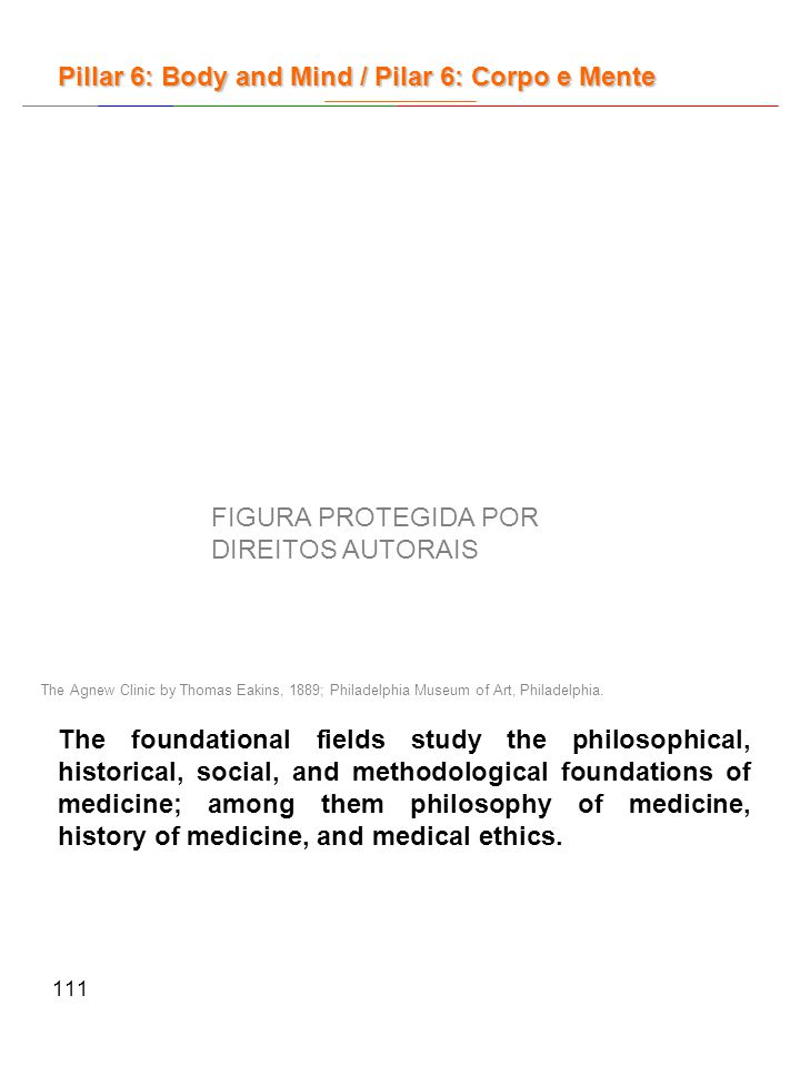 111 The foundational fields study the philosophical, historical, social, and methodological foundations of medicine; among them philosophy of medicine, history of medicine, and medical ethics.