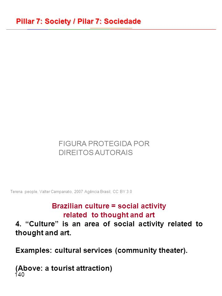 140 Terena people, Valter Campanato, 2007 Agência Brasil, CC BY 3.0 Brazilian culture = social activity related to thought and art 4.