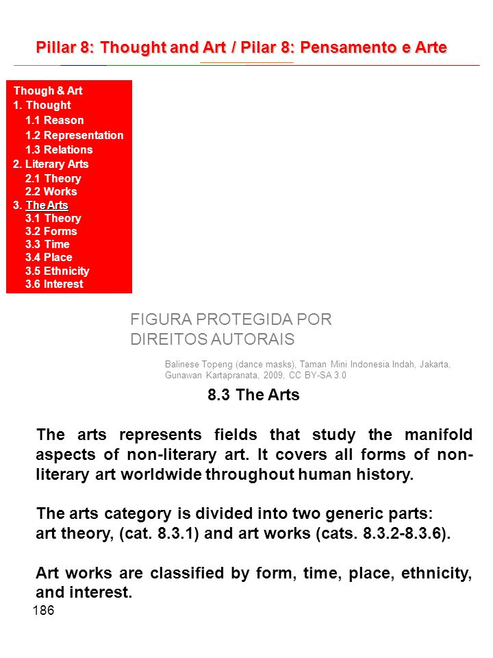 186 8.3 The Arts The arts represents fields that study the manifold aspects of non-literary art. It covers all forms of non- literary art worldwide th