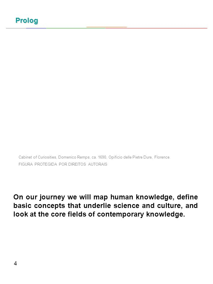 4 Prolog On our journey we will map human knowledge, define basic concepts that underlie science and culture, and look at the core fields of contemporary knowledge.