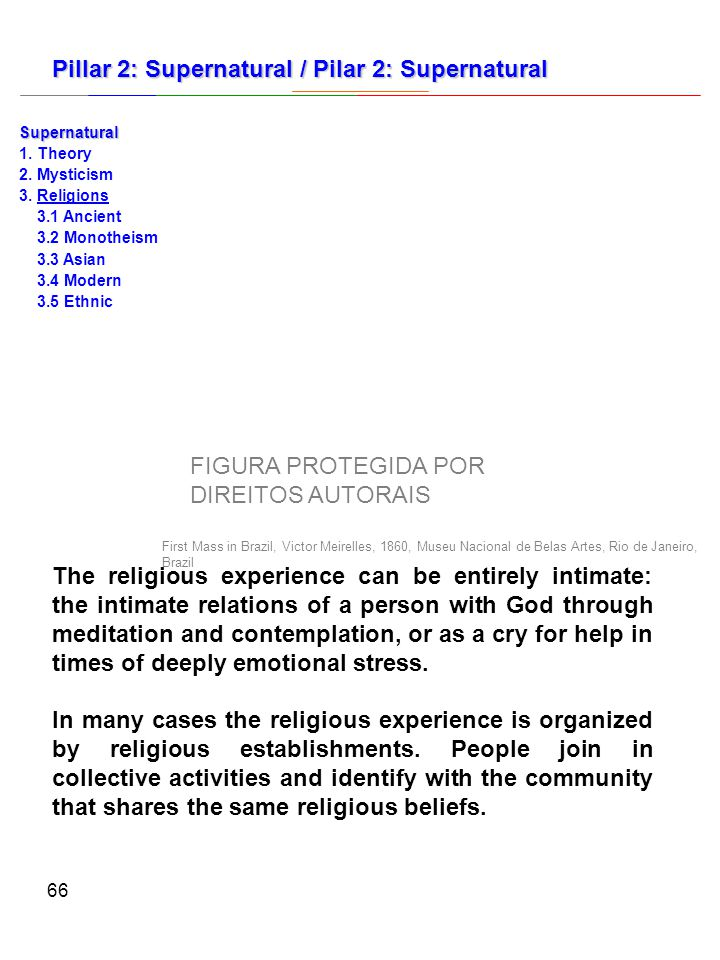 66 The religious experience can be entirely intimate: the intimate relations of a person with God through meditation and contemplation, or as a cry for help in times of deeply emotional stress.