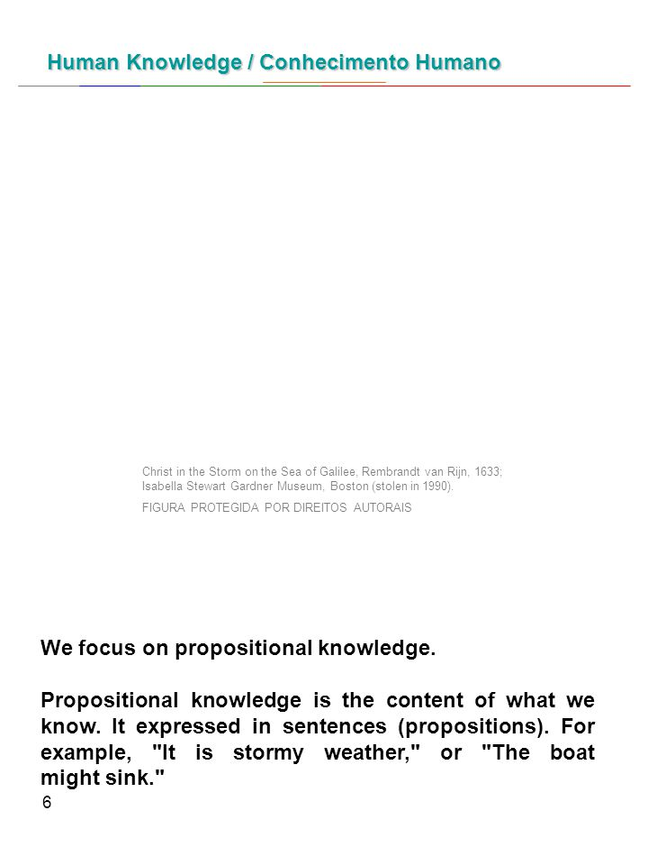 6 We focus on propositional knowledge. Propositional knowledge is the content of what we know.