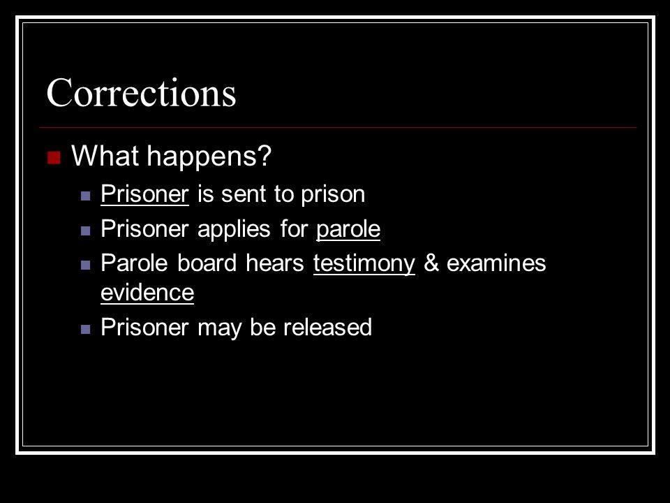 Corrections What happens? Prisoner is sent to prison Prisoner applies for parole Parole board hears testimony & examines evidence Prisoner may be rele