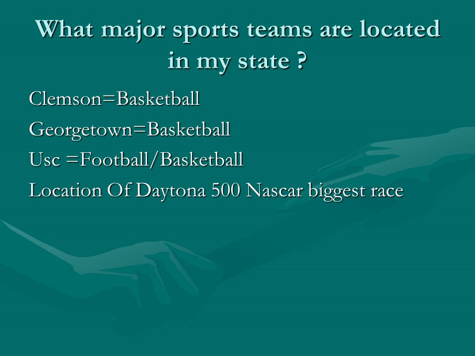 What major sports teams are located in my state .