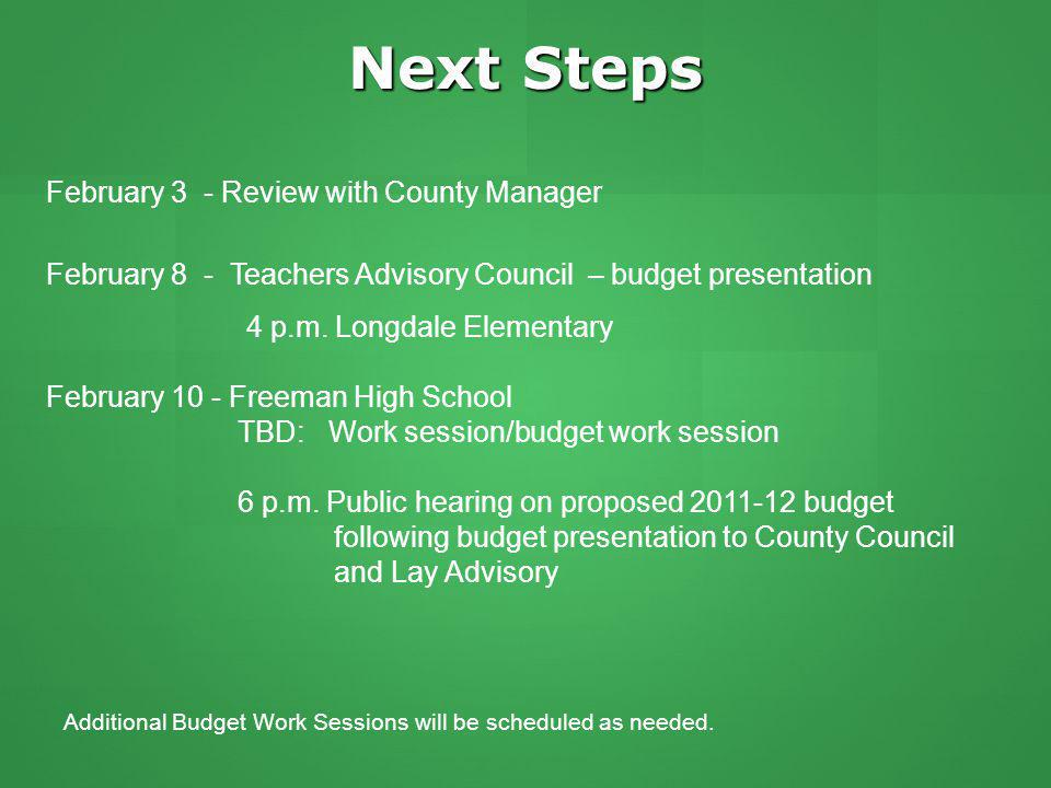 Next Steps February 3 - Review with County Manager February 8 - Teachers Advisory Council – budget presentation 4 p.m.