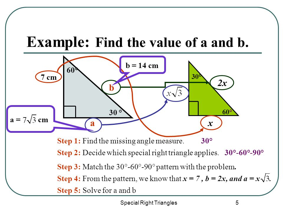 Special Right Triangles 5 Example: Find the value of a and b.