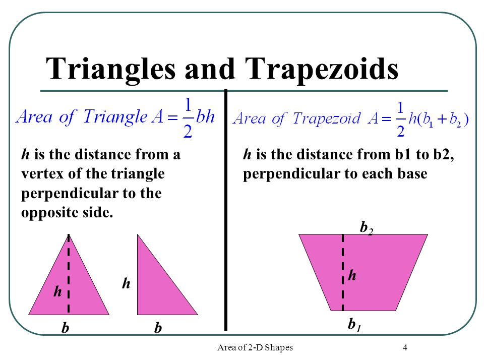 Area of 2-D Shapes 4 Triangles and Trapezoids h h h bb b1b1 b2b2 h is the distance from a vertex of the triangle perpendicular to the opposite side. h