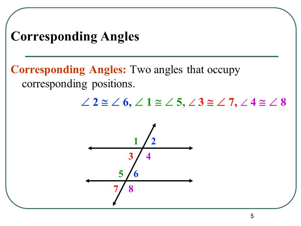 6 Alternate Angles Alternate Interior Angles: Two angles that lie between parallel lines on opposite sides of the transversal (but not a linear pair).