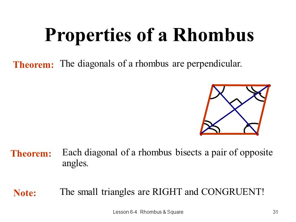 Lesson 6-4: Rhombus & Square30 Rhombus Note:The four small triangles are congruent, by SSS.