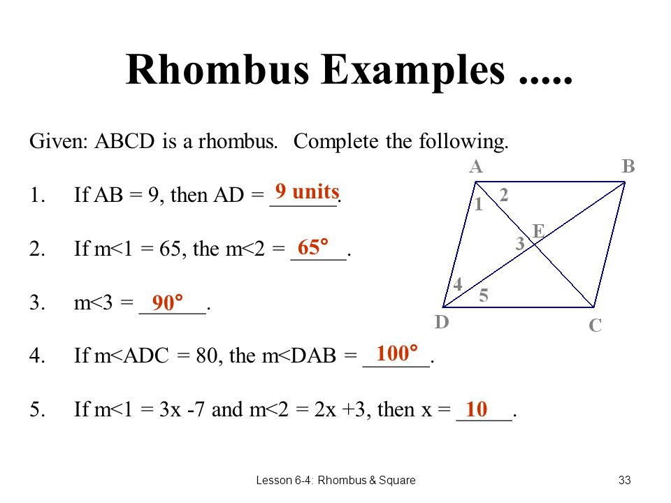 Lesson 6-4: Rhombus & Square32 Properties of a Rhombus.Since a rhombus is a parallelogram the following are true: Opposite sides are parallel.