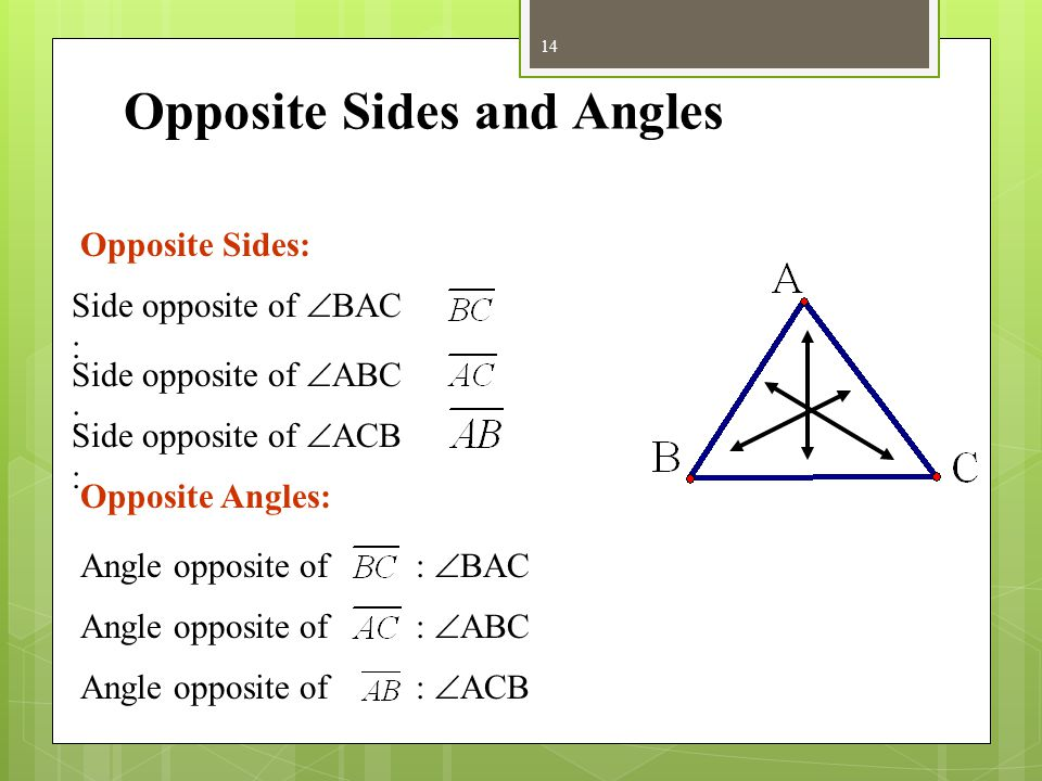 Parts of Triangles For example, ∆ ABC has Sides: Angles: Every triangle has three sides and three angles.  ACB  ABC  CAB 13