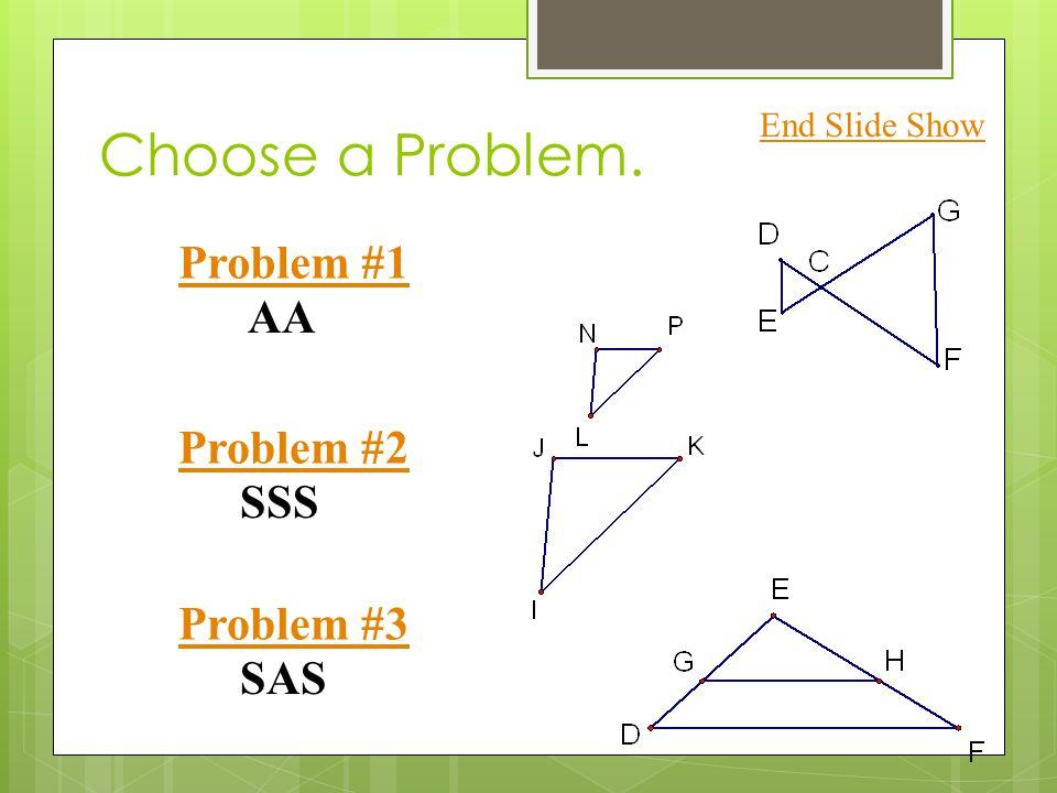 Choose a Problem. Problem #1 Problem #2 Problem #3 End Slide Show SSS SAS AA