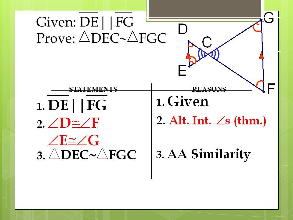 STATEMENTSREASONS 3. DEC  FGC Given:DE||FG Prove:DEC  FGC