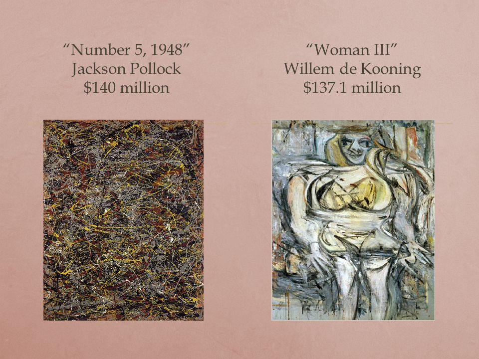 Number 5, 1948 Jackson Pollock $140 million Woman III Willem de Kooning $137.1 million