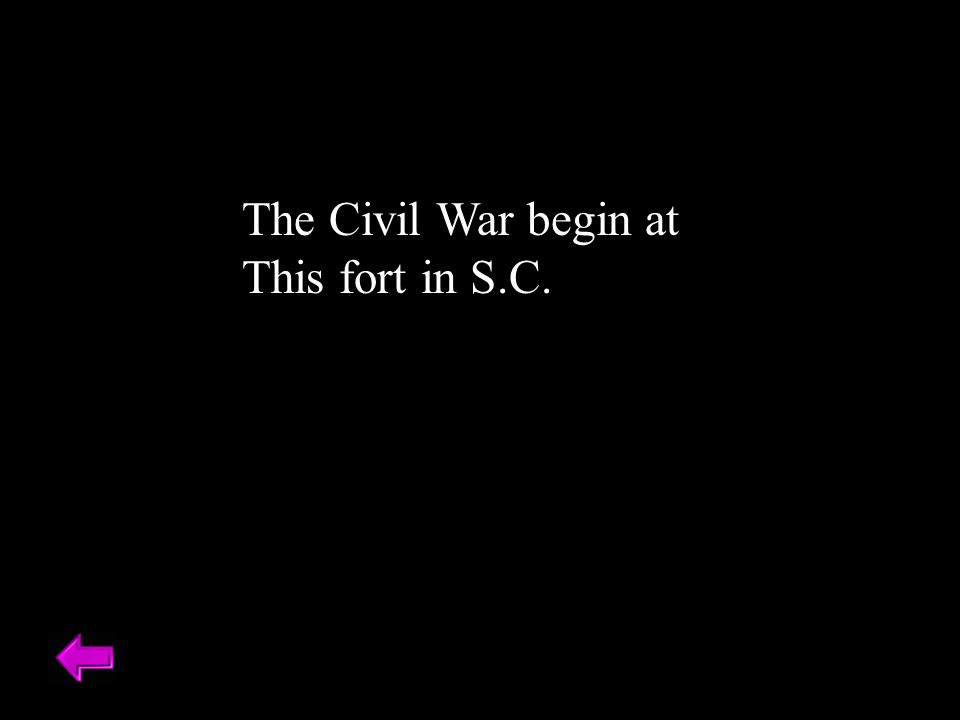 The Civil War begin at This fort in S.C.
