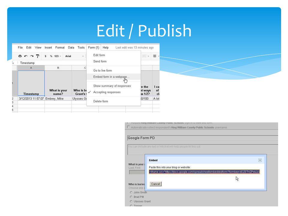 Edit / Publish