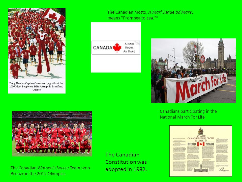 Canadians participating in the National March For Life The Canadian Women's Soccer Team won Bronze in the 2012 Olympics The Canadian motto, A Mari Usque ad Mare, means From sea to sea. n The Canadian Constitution was adopted in 1982.