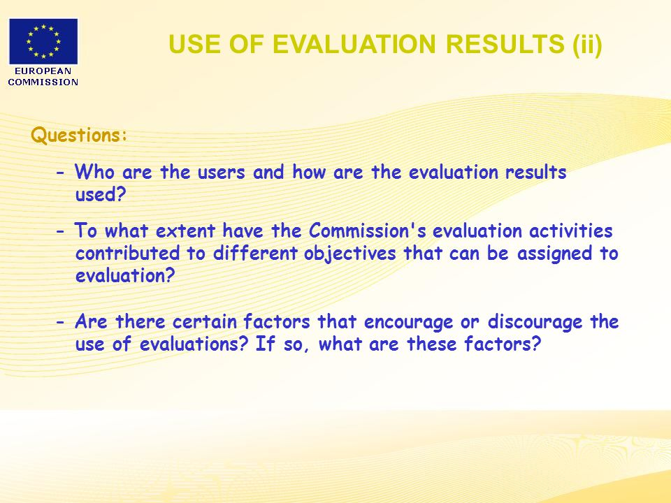 24 Questions: - Who are the users and how are the evaluation results used.