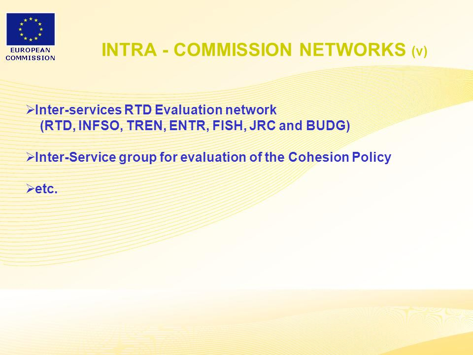 7 INTRA - COMMISSION NETWORKS (v)  Inter-services RTD Evaluation network (RTD, INFSO, TREN, ENTR, FISH, JRC and BUDG)  Inter-Service group for evaluation of the Cohesion Policy  etc.
