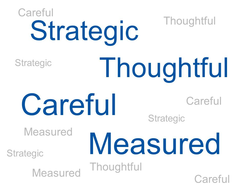 Strategic Thoughtful Careful Measured Strategic Thoughtful Careful Measured