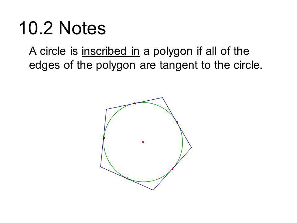 10.2 Notes A circle is inscribed in a polygon if all of the edges of the polygon are tangent to the circle.