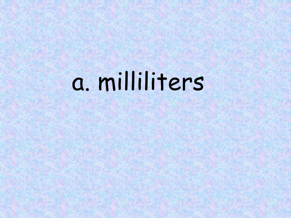 a. milliliters