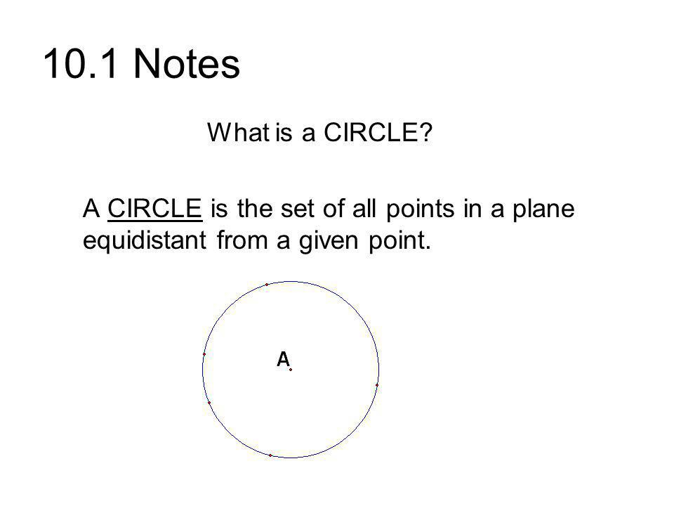 10.1 Notes What is a CIRCLE.
