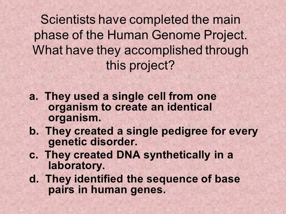 Scientists have completed the main phase of the Human Genome Project.