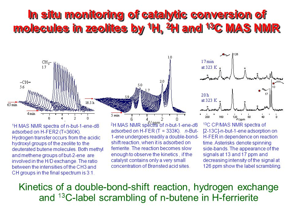 In situ monitoring of catalytic conversion of molecules in zeolites by 1 H, 2 H and 13 C MAS NMR Kinetics of a double-bond-shift reaction, hydrogen ex