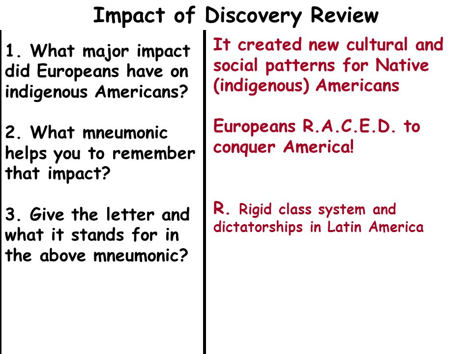 1. What major impact did Europeans have on indigenous Americans.