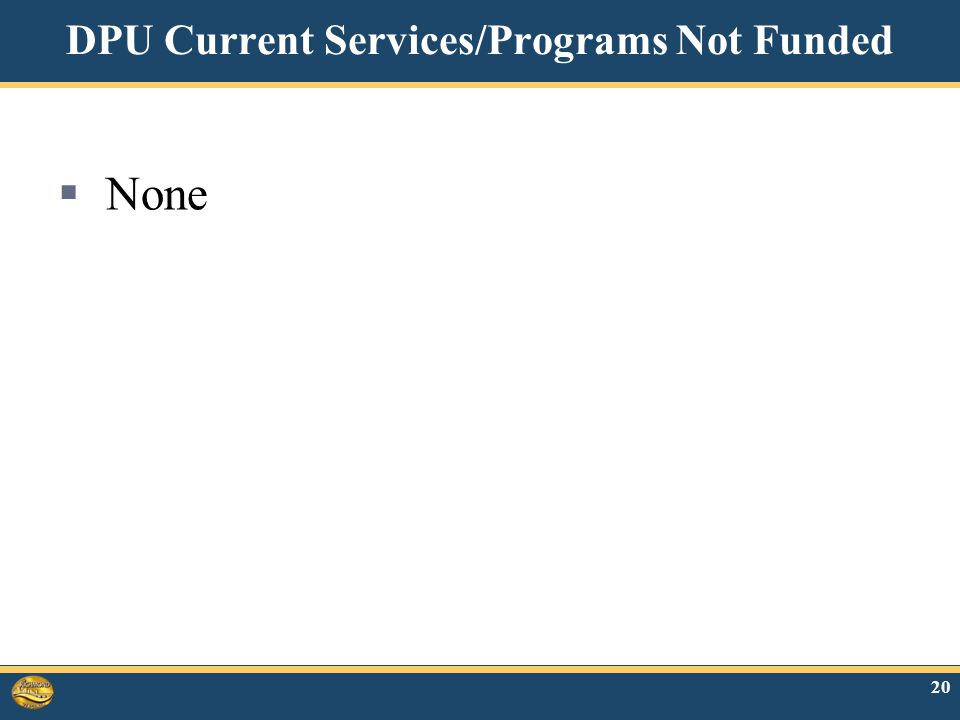20 DPU Current Services/Programs Not Funded  None