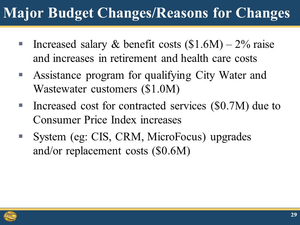 Major Budget Changes/Reasons for Changes  Increased salary & benefit costs ($1.6M) – 2% raise and increases in retirement and health care costs  Assistance program for qualifying City Water and Wastewater customers ($1.0M)  Increased cost for contracted services ($0.7M) due to Consumer Price Index increases  System (eg: CIS, CRM, MicroFocus) upgrades and/or replacement costs ($0.6M) 29