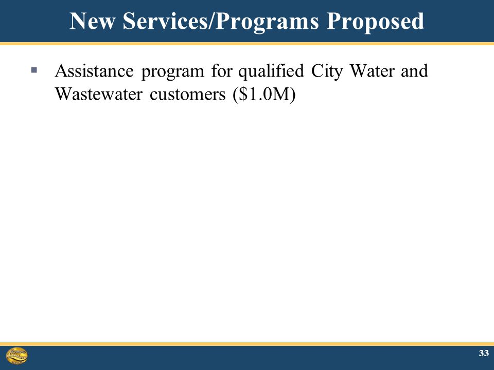 New Services/Programs Proposed  Assistance program for qualified City Water and Wastewater customers ($1.0M) 33