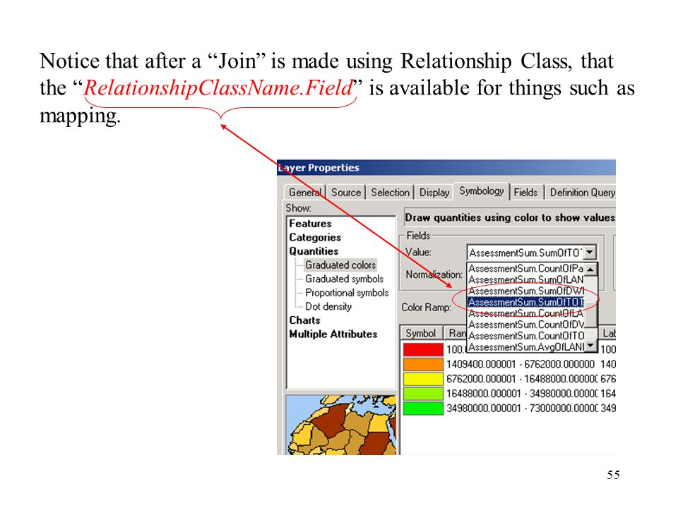 55 Notice that after a Join is made using Relationship Class, that the RelationshipClassName.Field is available for things such as mapping.