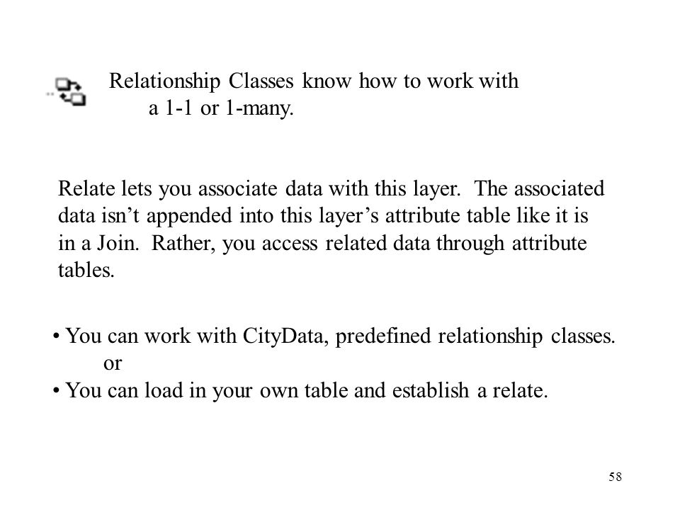 58 Relationship Classes know how to work with a 1-1 or 1-many.