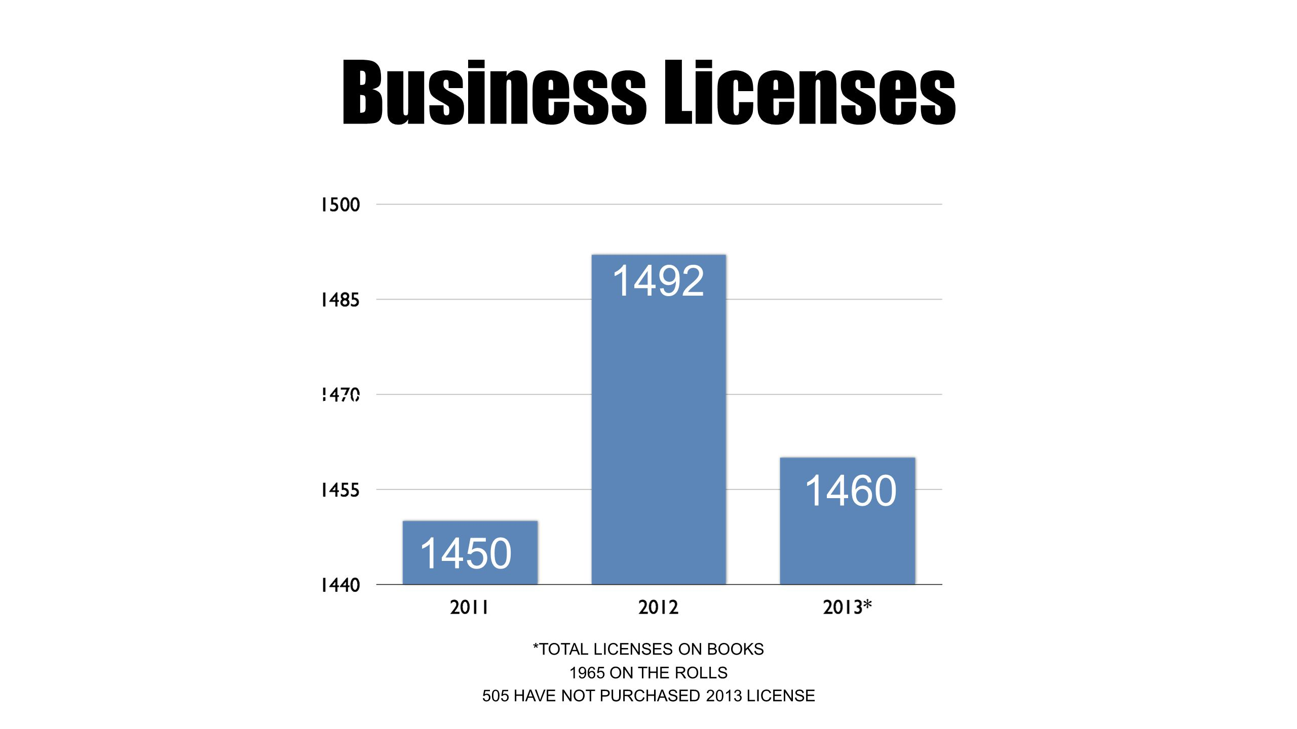 Business Licenses 5.0% 5.7% 8.1% % *TOTAL LICENSES ON BOOKS HAVE NOT PURCHASED 2013 LICENSE 1965 ON THE ROLLS