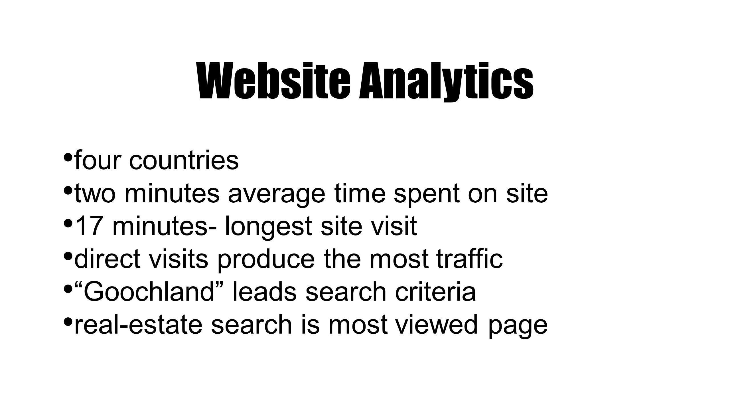 """four countries two minutes average time spent on site 17 minutes- longest site visit direct visits produce the most traffic """"Goochland"""" leads search c"""