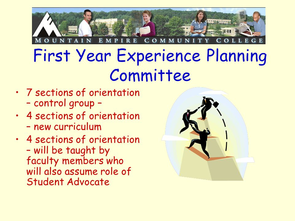 First Year Experience Planning Committee 7 sections of orientation – control group – 4 sections of orientation – new curriculum 4 sections of orientat