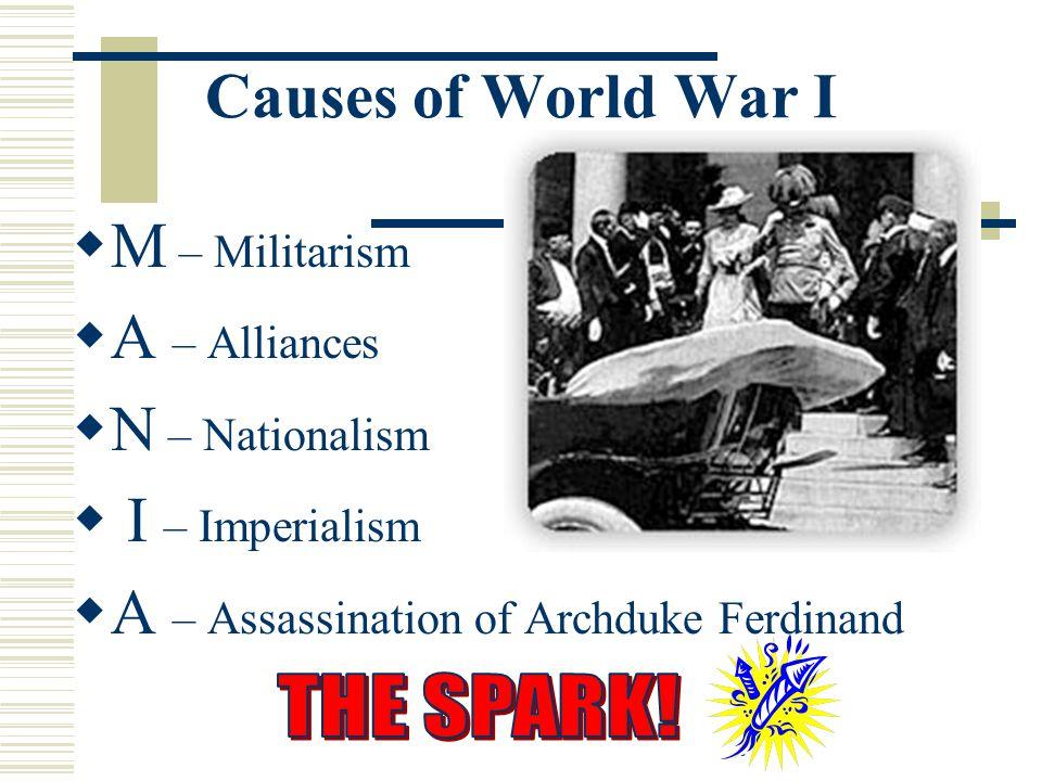 Causes of World War I M M – Militarism  A – Alliances N N – Nationalism  I – Imperialism  A – Assassination of Archduke Ferdinand