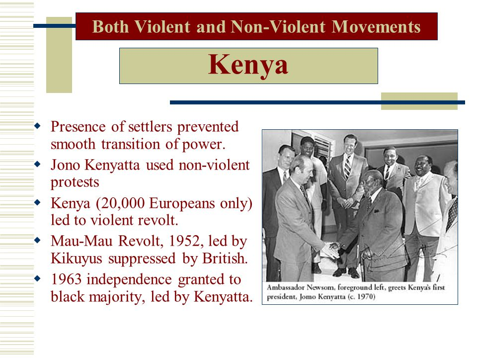 Kenya  Presence of settlers prevented smooth transition of power.