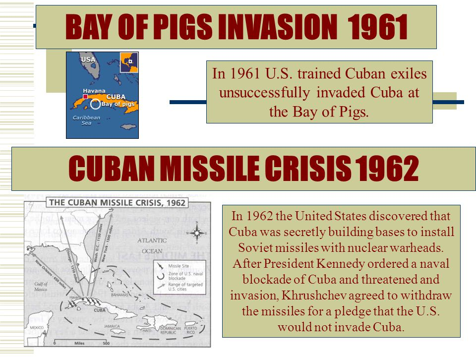 CUBAN MISSILE CRISIS 1962 In 1962 the United States discovered that Cuba was secretly building bases to install Soviet missiles with nuclear warheads.