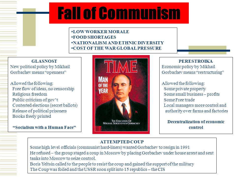 Fall of Communism LOW WORKER MORALE FOOD SHORTAGES NATIONALISM AND ETHNIC DIVERSITY COST OF THE WAR GLOBAL PRESSURE GLASNOST New political policy by Mikhail Gorbachev means openness Allowed the following: Free flow of ideas, no censorship Religious freedom Public criticism of gov't Contested elections (secret ballots) Release of political prisoners Books freely printed Socialism with a Human Face PERESTROIKA Economic policy by Mikhail Gorbachev means restructuring Allowed the following: Some private property Some small business – profits Some Free trade Local managers more control and authority over farms and factories Decentralization of economic control ATTEMPTED COUP Some high level officials (communist hard-liners) wanted Gorbachev to resign in 1991 He refused – the group staged a coup in Moscow by placing Gorbachev under house arrest and sent tanks into Moscow to seize control.