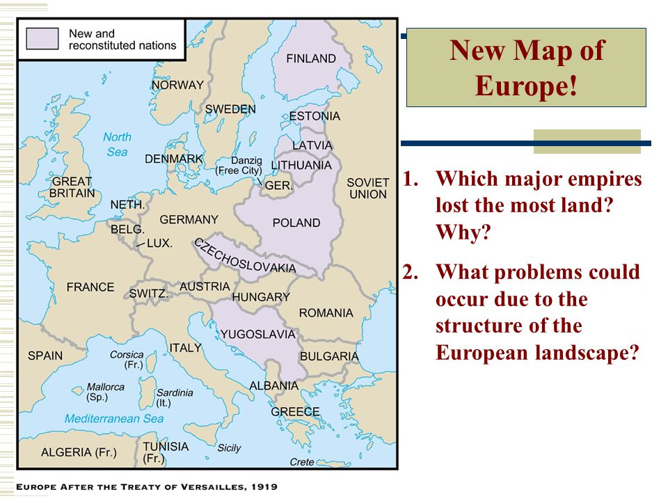 New Map of Europe.1.Which major empires lost the most land.