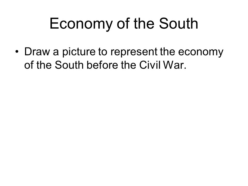 Economy of the South Draw a picture to represent the economy of the South before the Civil War.