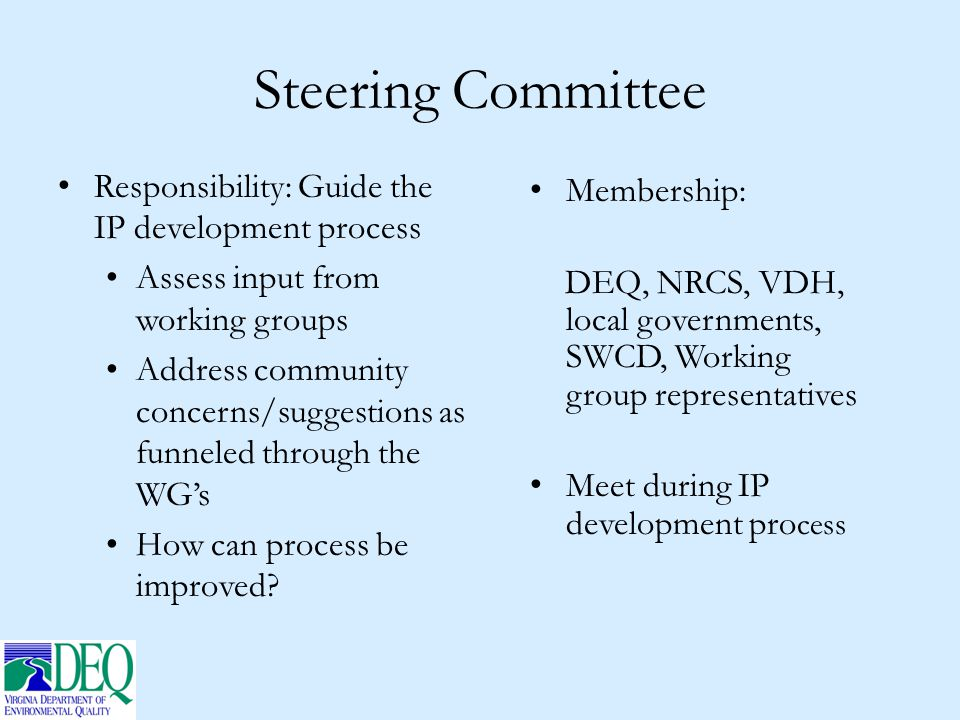 Steering Committee Responsibility: Guide the IP development process Assess input from working groups Address community concerns/suggestions as funnele