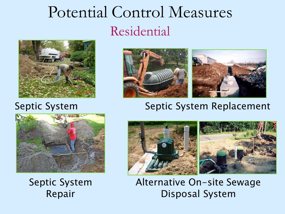 Potential Control Measures Residential Septic System ReplacementSeptic System Pump-out Alternative On-site Sewage Disposal System Septic System Repair