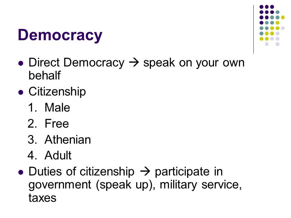 Democracy Direct Democracy  speak on your own behalf Citizenship 1.